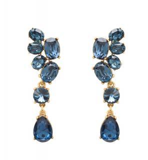 Blue Swarovski Crystal Asymmetrical Earrings