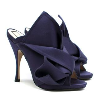 N�21 Navy Satin Bow Mules