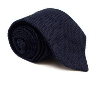 Emma Willis Navy Textured-weave Silk Tie