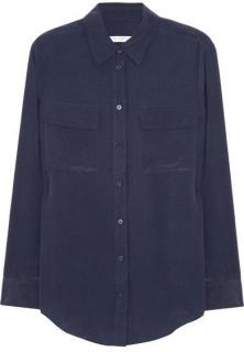 Equipment signature washed-silk navy shirt