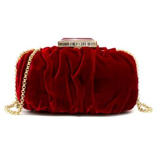 Oscar De La Renta Ruby Red Goa Velvet Clutch