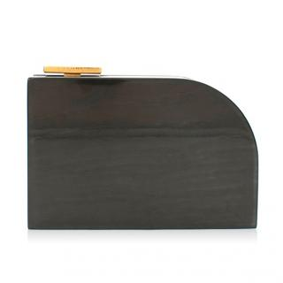 Lanvin Piano Dark Grey Wood Box Clutch