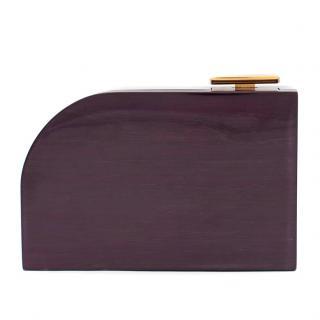 Lanvin Piano Aubergine Wood Box Clutch
