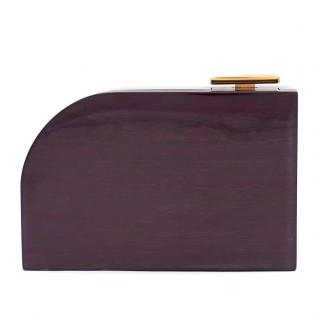Lanvin Piano Aubergine Wood Box Clutch