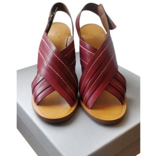 Mulberry Burgundy Cross-Over Wood-Heel Sandals