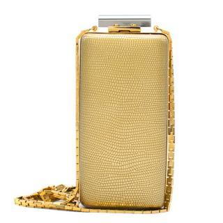 Lanvin Gold & Silver Vertical Minaudiere Clutch Bag