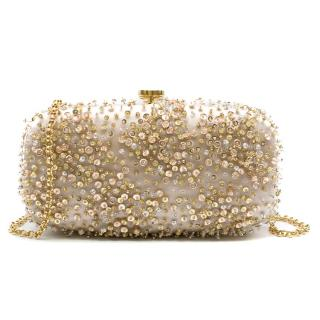 Oscar De La Renta Ivory Sequin-embroidered Satin Clutch