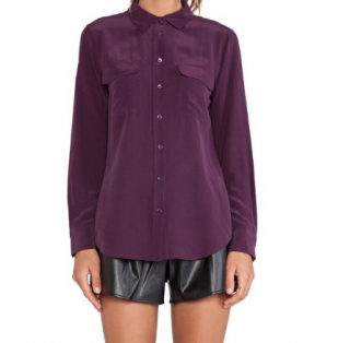 Equipment Signature washed-silk purple shirt