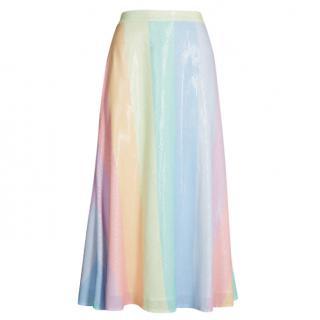 Olivia Rubin Penelope rainbow-striped sequinned skirt