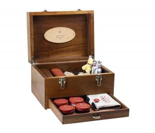 Turms Brown Walnut Shoe Shine Case
