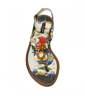Dolce & Gabbana Sicily Print Crystal Thong Sandals