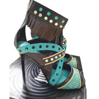 Just Cavalli bi-colour fringed leather sandals