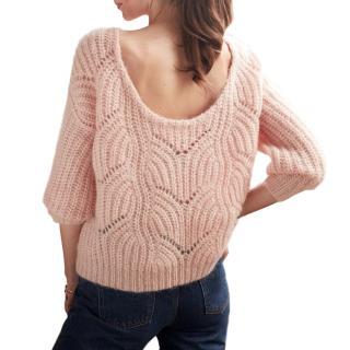 Sezane Petal Pink Mohair & Wool Blend Simone Sweater