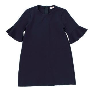 Il Gufo Girls 5Y Navy Ruffle Sleeve Dress