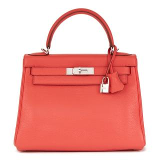 Hermes Clemence Leather Bougainvillea 28cm Kelly Retourne
