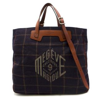 Chez Dede Grand Sac Navy Checkered Tote Bag