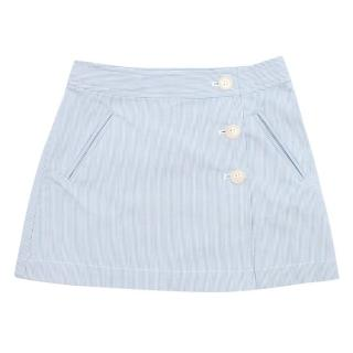 Bonpoint Girls 6Y Blue and White Striped Wrap Skirt