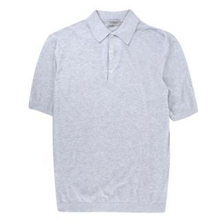 John Smedley Grey Knitted Polo Shirt