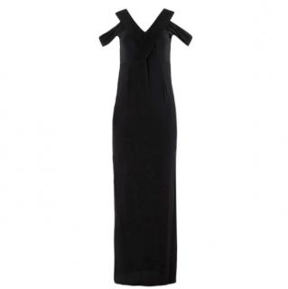 Yasmin Kianfar Black Pleated Panel Cold-Shoulder Dress