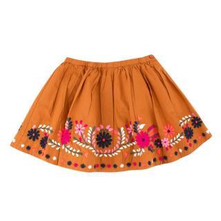 Bonpoint Girls 4Y Caramel Floral Embroidered Skirt