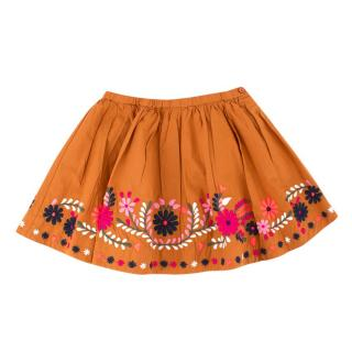 Bonpoint Girls 4Y Caramel Floral Embroidered Skirt