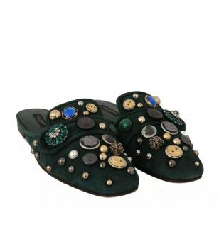 Dolce & Gabbana Green Suede Embellished Slides