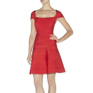 Herve Leger Alana Cut-Out Scalloped Dress
