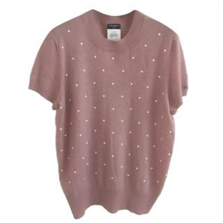 Chanel faux-pearl embellished short-sleeved sweater