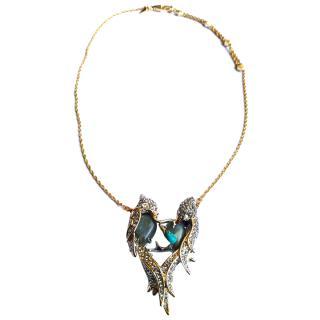 Alexis Bittar crystal-encrusted lovebirds necklace