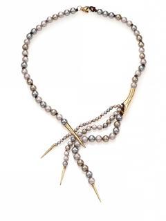 Alexis Bittar Miss Havisham Faux Pearl Spear-Capped Necklace