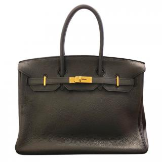 Hermes Black Taurillon Clemence Birkin 35 Bag