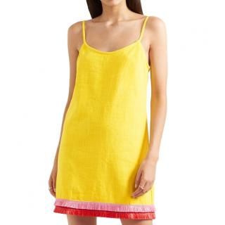 Staud Sonny yellow fringed-hem dress