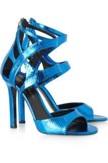 Tamara Mellon's Fatale metallic-blue snakeskin sandals