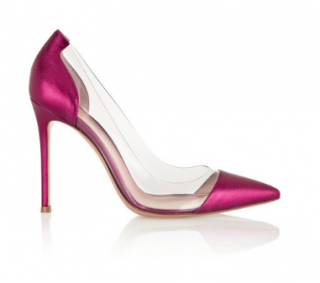 Gianvito Rossi Plexi metallic-pink leather & PVC pumps