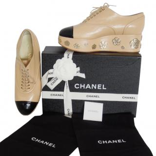 Chanel lace up platform beige black oxford shoes