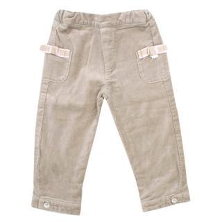Tartine et Chocolat Girls 18M Beige Velour Trousers