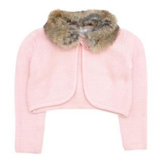 Tartine et Chocolat Girls 18M Pink Fur Collar Cardigan