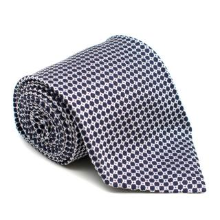 Cappelli Napoli Blue and White Patterned Silk Tie