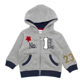 Primigino Boys 6M Grey & Navy No.1 Hooded Sweater