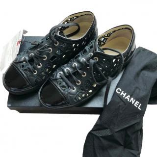 Chanel Black Lasercut Camellia Trainers