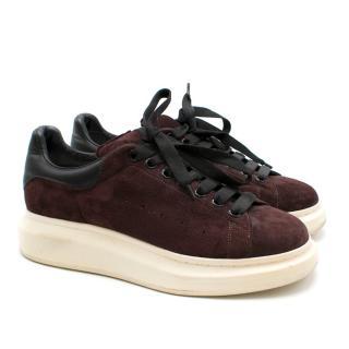 Alexander McQueen Burgundy Suede Chunky Sneakers