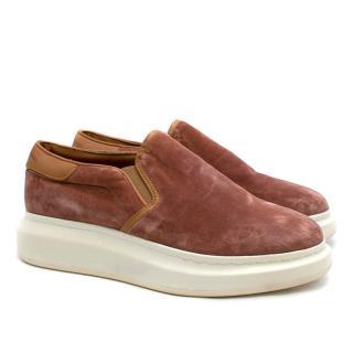 Alexander McQueen Pink Velvet Slip-on Sneakers