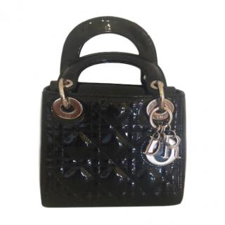 Dior Black Patent Mini Lady Dior Bag