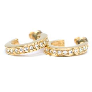 Dior Gold-toned Rhinestone Hoop Earrings