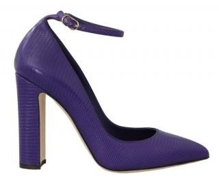 Dolce & Gabbana Purple Ankle Strap Lizard Sandals