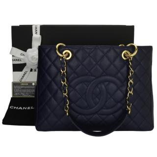 Chanel Navy Caviar Leather Grand Shopping Tote