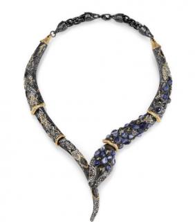 Alexis Bittar Jardin De Papillon Cabochon Encrusted Snake Necklace