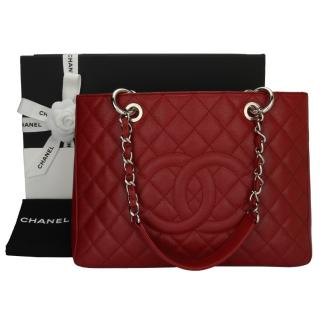 Chanel Red Caviar Leather Grand Shopping Tote