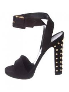 Gucci Black Suede Wrap Strap Studded Heel Sandals