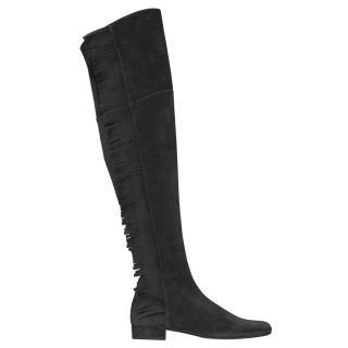 Saint Laurent BB 20 OTK Fringed Suede Boots